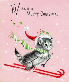 #184 Kitty Cat on Snow Skis, PINK, Vintage Christmas Card-Greeting   eBay