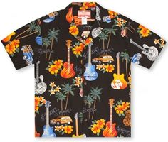 FREE SHIPPING - EVERY ORDER, EVERY DAY!  RJC - Surf Guitars Hawaiian Aloha Shirt -Black. Coconut shell buttons and matching print engineered chest pocket. MADE IN HAWAII  100% Cotton  RJC Brand - RJC Label. Care & Cleaning: Machine wash cold water, mild detergent, tumble dry on low heat. Do not bleach. Warm Iron