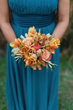 don't want quite so much orange, but i really like the size and shape of this for bridesmaids.
