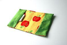 Mijn nieuwe kindercollectie is onderweg!!  Passport cover kids red apples in green silk by BagsByTravelher, $14.00