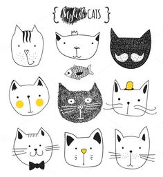Set of cute doodle cats by Modern vector on @creativework247