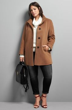 Fleurette Wool Coat, MICHAEL Michael Kors Top & KUT from the Kloth 'Diana' Skinny Jeans (Plus Size)  available at #Nordstrom