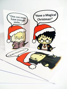 Snape, Dumbledore, and Harry Christmas Cards