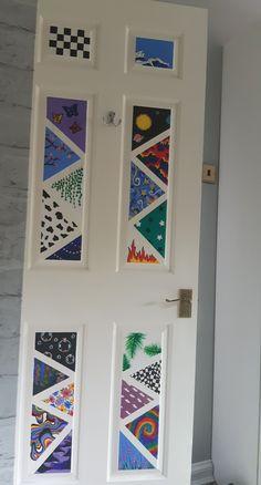 Painted Bedroom Doors, Art Room Doors, Painted Doors, Cute Bedroom Decor, Teen Room Decor, Bedroom Art, Diy Canvas Art, Diy Wall Art, Room Wall Painting