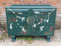 Oriental inspired sideboard bottle green painted decoupage hand painted bird gold leaf gilding shabby chic distressed blossom