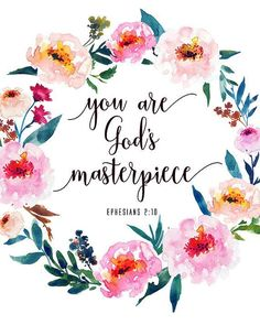 Bible Verse Print You Are God's Masterpiece Ephesians Inspirational Christian Quote Print Scripture Wall Art - inspirierend Scripture Wall Art, Bible Verses Quotes, Bible Scriptures, Bible Quotes About Beauty, Bible Quotes For Children, Bible Verses For Girls, Good Bible Verses, Faith Quotes, Niv Bible