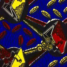 Tissu Wax africain N° 227 Bleu roi Motifs africain Jaunes et rouges - Par 50 cm