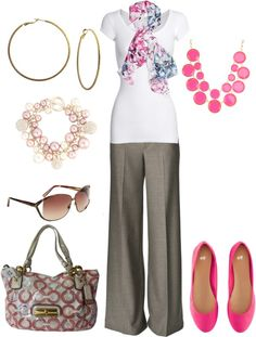 greige trouser pants, white blouse, pink/teal scarf,pink bauble necklace, hot pink flats, gold accesories, greige tote --Very Cute