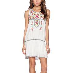 Cool Elegant Sleeveless Boho Floral Embroidery Design Loose Cotton Mini Sundress S-L