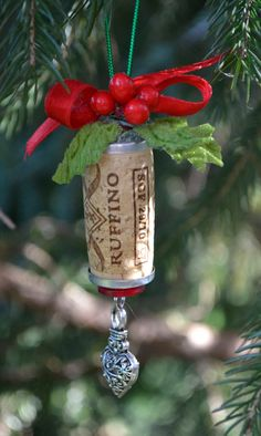 Wine Cork Ornament Heart Ornament Recycled by TheSilverwearShop