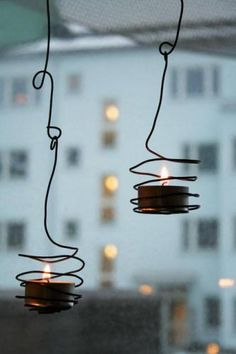 DIY: hanging wire candle holders
