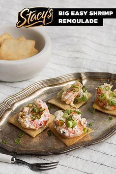 Big Easy Shrimp Remoulade from James Beard Award-winning chef Hugh Acheson. Enjoy this fresh & simple recipe for a perfect snack in honor of our trip to the Big Easy with James Beard Foundation's Taste America Tour. Fish Recipes, Seafood Recipes, Great Recipes, Cooking Recipes, Favorite Recipes, Recipies, Tapas, Appetizers For Party, Appetizer Recipes