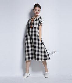 Любой Размер классический плед мягкие льняные и хлопчатобумажные платья плюс размер платья плюс размер вершины плюс размер одежды весна лето платье одежда