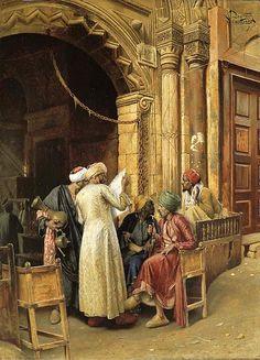 interesting painting object - Ludwig Deutsch - 1885 A Gathering Around the Morning News, Cairo Empire Ottoman, Arabian Art, Old Egypt, Academic Art, Ludwig, Post Impressionism, Historical Art, Egyptian Art, Cairo