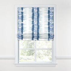 Aqua Blue Shibori Stripe Roman Shade | Loom Decor