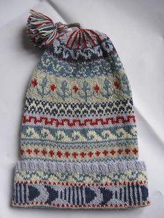 giancarlacoco's fisherman's kep for Alessio Fair Isle Knitting Patterns, Knitting Charts, Knit Patterns, Free Knitting, Stitch Patterns, Hand Knitting Yarn, Knitting Socks, Knitted Hats, Thread Crochet