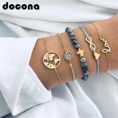 675de95a6c7 docona Bohemian Gold Color Earth Letter Infinite Bracelet Set for Women  Jewelry Shop, Cheap Jewelry