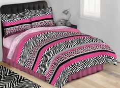 Twin Size Black White and Hot Pink Leopard Zebra Complete Bed Set