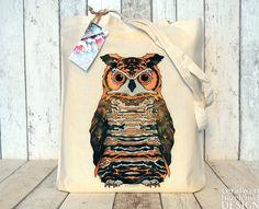 #Owl Illustration Fair Trade Tote Bag Reusable Shopper Bag Cotton Tote Shopping Bag Eco Tote Bag Ceridwen Hazelchild Design