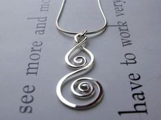 Items similar to Silver Spiral Necklace... Handmade Artisan Pendant, Sterling Silver Chain - Whirlwind on Etsy