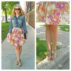 Cute right?! I agree...-to get this look try putting together a fun retro floral skirt with a denim top and purse