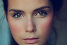 very natural make-up with a rosey cheek