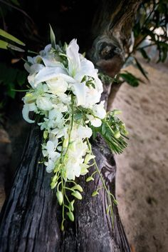 White teardrop bouquet - Lillies, roses & Thai orchids