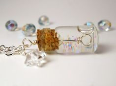 Tiny Bubble Soap Glass Bottle Necklace by AliatheGhoul on DeviantArt Bottle Jewelry, Bottle Charms, Bottle Necklace, Diy Necklace, Diy Jewelry, Jewelry Design, Jewelry Making, Jewellery, Glass Necklace