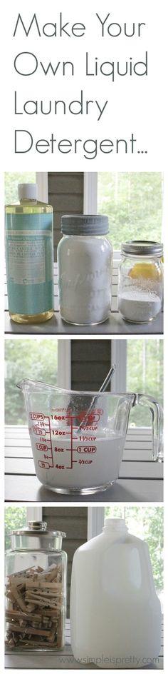 Make Your Own Liquid Laundry Detergent - https://www.simpleispretty.com