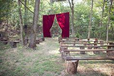 curtain ceremony... circus themed wedding.