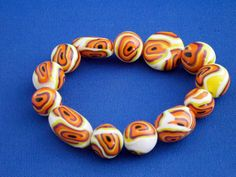 Polymer Clay Bangle Bracelet Stretchy Orange by KooshyJewellery, £4.50