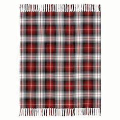 """The Marshall Woven Throw features cherry red, caviar, and marshmallow plaid fabric. Trimmed with 5"""" multi-colored tassels. Loom woven. Measures 60"""" x 50""""."""
