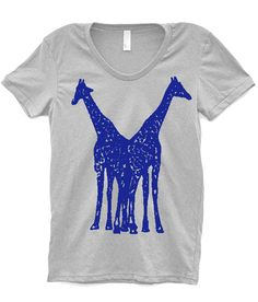 Giraffes T Shirt Women - Animal Clothing - Gift for Mom or Her - 14 Color Choices