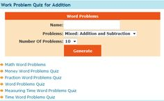 "This is an image from this resource on the Internet4Classrooms' ""Second Grade Math help on standardized tests, word problems"" resource page:    Word Problem Quiz.    Generate a quiz by selecting only addition, only subtraction, or a mixture of the two and the number of questions."