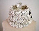 Cowl Neckwarmer / Chunky Ivory Cream Neutral Tweed / Hand Knit Accessory / NEW