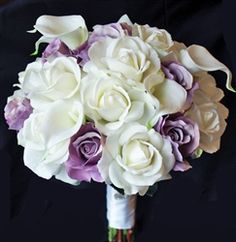 Purple Lavender Natural Touch Roses with Floramatique Calla Lilies