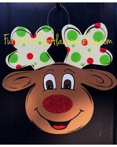 Reindeer door hanger,christmas door hanger,christmas door decor,whimsical door hanger,wooden door decor,small business saturday,cyber monday by Furnitureflipalabama on Etsy