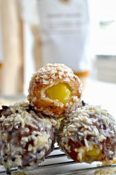 Coconut Doughnut Holes Filled with Lime Curd