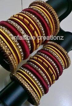 Designer Jewellery Gold through Jewellery Shops In Bangalore minus Jewellery Organizer Canada much Jewellery Tray also Jewellery Stores Edmonton Silk Thread Bangles Design, Silk Bangles, Bridal Bangles, Thread Jewellery, Silver Bracelets, Bridal Jewelry, Bangle Bracelets, Jewellery Shops, Silver Jewelry