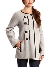 Love this Mushroom Leather-Trim Tabatha Alpaca-Wool Blend Coat by Beyond Threads on #zulily! #zulilyfinds