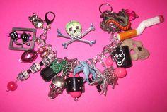 Bad Girl Charm Bracelet Jewelry Skulls Dice Gun Stars Pink Black Silver OOAK Gothic Goth Emo Scene Punk Rock & Roll Party Girl Rocker Chick by Jynxx on Etsy