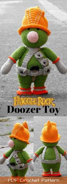 Fraggle Rock Doozer toy crochet pattern. pdf crochet pattern for little green builder guy toy from '80s jim hensen tv show. Check out all of craft evangelist's DIY toy finds!