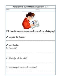 Dori dos 1112_mt005_r1_comprensio_lectora_3 Worksheets, Teaching, Writing, Muhammad, School, Texts, Frases, Reading Comprehension, Catalan Language