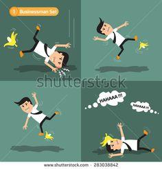 Businessman set: man slipping on a banana peel. vector illustration.