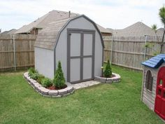 Landscaping around shed