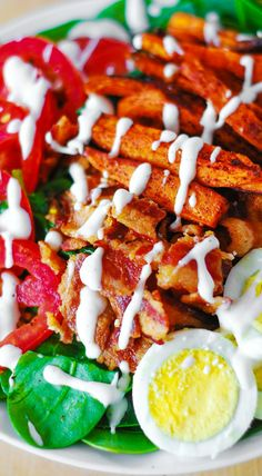 Sweet potato fry and BLT salad.  This salad has everything: protein, healthy carbs, vegetables, fiber, and it's GLUTEN FREE! Served with delicious mayo and sour cream based dressing mixed with lemon juice & freshly ground pepper!