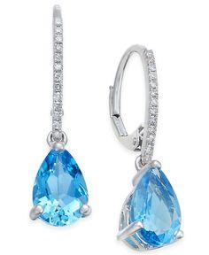 Fine Jewelry Genuine Blue Sapphire 14K Gold Over Silver Drop Earrings xmjPjLN