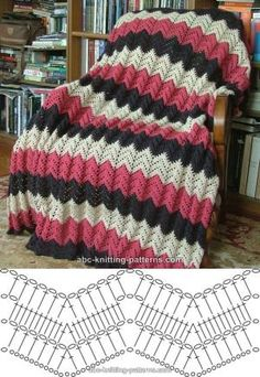 Pink ripple afghan, free pattern from ABC Knitting.   Written pattern with several photos on their site.  #crochet #blanket #throw #pillow by maria beatriz
