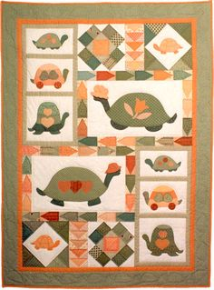 Quilt patterns, paper piecing patterns, applique quilting; country and Americana quilter designs :: A Snappy Turtle Quilt