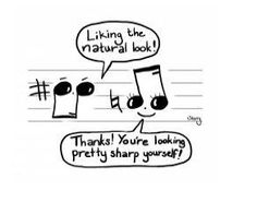 Gotta love music jokes pretty corny though but still funny lol!!:) Ha... It's the type of dry lame thing your health teacher cracks up over... ;)